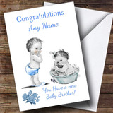 Cute Pretty Vintage Baby Boy You're A Big Brother Customised Sibling Card