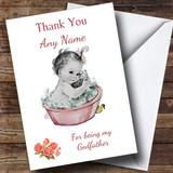 Cute Pink Baby Girl Thank You For Being My Godfather Customised Sibling Card