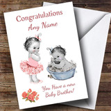 Cute Pink Baby Boy Brother You're A Big Sister Customised Sibling Card