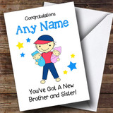 New Baby Twin Brother & Sister Boy & Girl Customised Sibling Card