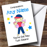 Big Brother New Baby Twin Sisters Girls Customised Sibling Card