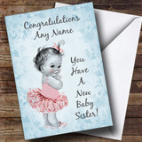 Blue Vintage Baby New Baby Sister Customised Sibling Card