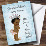 Blue Vintage Baby New Baby Sister Black Girl Customised Sibling Card