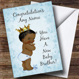Blue Vintage Baby New Baby Brother Black Boy Customised Sibling Card