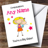 Blonde Big Sister Congratulations New Baby Boy Brother Customised Sibling Card