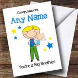 Blonde Big Brother Congratulations New Baby Boy Customised Sibling Card