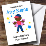 Black Congratulations New Baby Twin Sisters Girls Customised Sibling Card