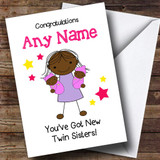 Black Congratulations New Baby Twin Girl Sisters Customised Sibling Card
