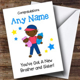 Black Congratulations Twin Brother & Sister Boy & Girl Customised Sibling Card