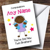 Black Big Sister New Baby Twin Boys Brothers Customised Sibling Card