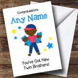 Black Big Brother New Baby Twin Brothers Boys Customised Sibling Card