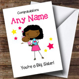 Black Big Sister New Baby Congratulations Baby Girl Customised Sibling Card