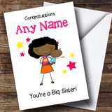 Black Big Sister Congratulations New Baby Boy Brother Customised Sibling Card