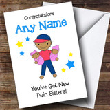 Asian Congratulations New Baby Twin Sisters Girls Customised Sibling Card