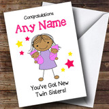 Asian Congratulations New Baby Twin Girl Sisters Customised Sibling Card