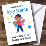 Asian Congratulations Twin Brother Sister Boy Girl Customised Sibling Card