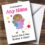 Asian Twin Brother Sister Boy Girl Customised Sibling Card