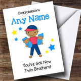 Asian Big Brother New Baby Twin Brothers Boys Customised Sibling Card