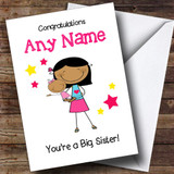 Asian Big Sister New Baby Congratulations Baby Girl Customised Sibling Card