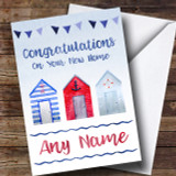 Watercolour Beach Hut New Home Customised Card