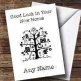 Black & White Tree New Home Customised Card