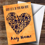 Blue House Heart New Home Customised Card