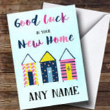 Beach Huts Blue New Home Customised Card