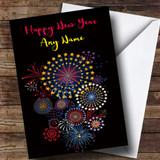 Black Fireworks Customised New Years Card