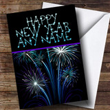 Blue & Purple Fireworks Customised New Years Card