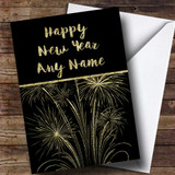 Gold Fireworks Customised New Years Card