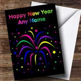 Rainbow Fireworks Customised New Years Card