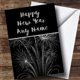 Silver Fireworks Customised New Years Card