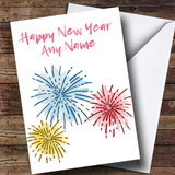 White Fireworks Customised New Years Card