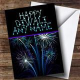 Blue & Purple Fireworks Customised Diwali Card