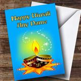 Blue Candle Customised Diwali Card