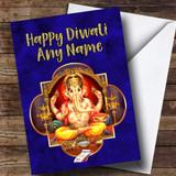 Blue Lord Ganesh Customised Diwali Card