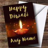 Golden Brown Candle Customised Diwali Card