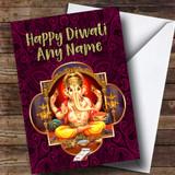 Hindu Pattern Lord Ganesh Pink Customised Diwali Card