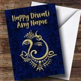 Hindu Pattern Ganesh Blue Customised Diwali Card