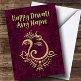 Hindu Pattern Ganesh Pink Customised Diwali Card