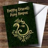 Hindu Pattern Ganesh Green Customised Diwali Card