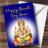Lord Ganesh Dark Blue Customised Diwali Card