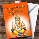 Lord Ganesh Orange Customised Diwali Card
