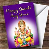 Lord Ganesh Purple Customised Diwali Card