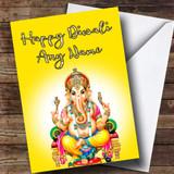 Lord Ganesh Yellow Customised Diwali Card