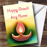 Pink Candle Customised Diwali Card