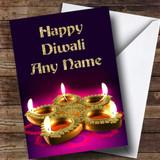 Purple & Gold Candle Customised Diwali Card