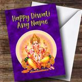 Purple Lord Ganesh Customised Diwali Card