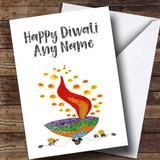 Silver Text Customised Diwali Card