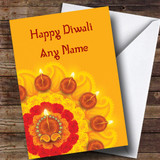 Yellow Candle Display Customised Diwali Card